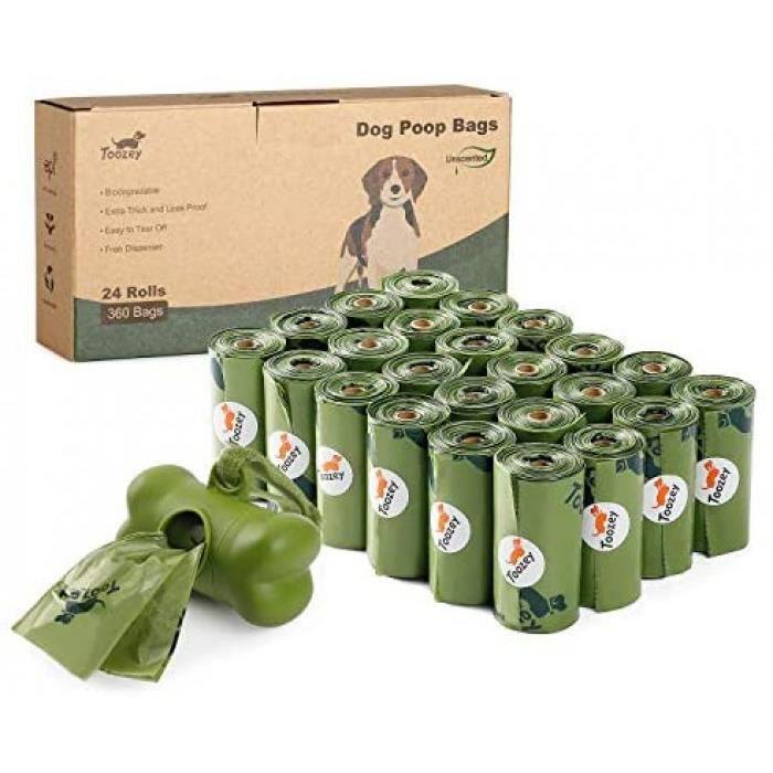 360 Sac Chien Déjection, Sac À Crottes Chien Biodégradable Distributeur De Sac Dejection Canine, Résistant Aux Fuites &Amp Sans Od