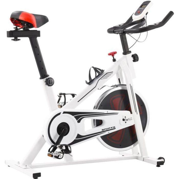 RIN Vélo d'appartement avec capteurs de pouls Blanc et rouge