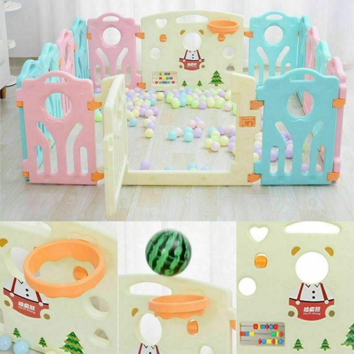Parc bébé plastique pour la sécurité d'enfants barriere maison intérieur - extérieur - Jardin (Multicolore, 12+2 Panels)