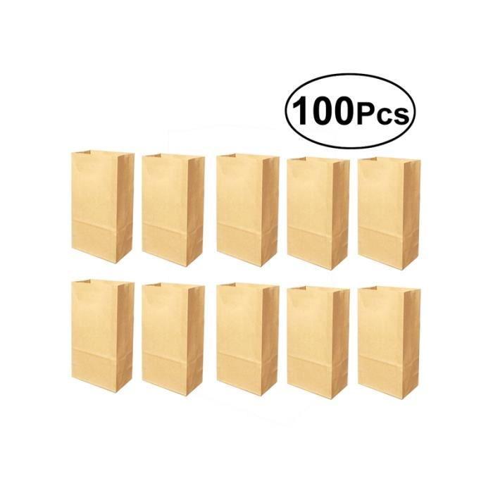 100 pcs sac en papier kraft de qualité alimentaire à toit ouvert gros bonbons emballage