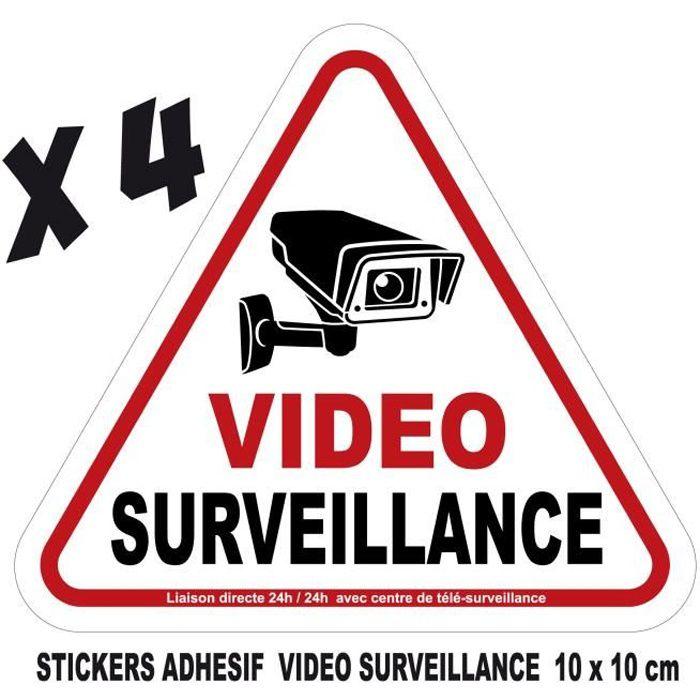 adhesif stickers vidéosurveillance video surveillance camera autocollant 10x10 cm lot 4 stickers