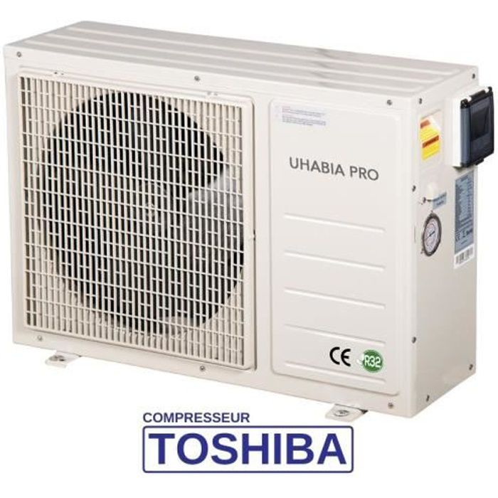 Pompe à chaleur piscine - jusqu'à 30 m3, R32, COP 4.9, Compresseur Toshiba, modèle Uhabia Pro 20 de ByPiscine
