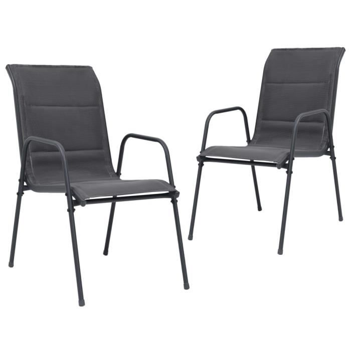 &7239PRIME Pack de 2 Chaises empilables de jardin Fauteuil de jardin de Haute qualité Chaise d'extérieur Acier et textilène Anthraci