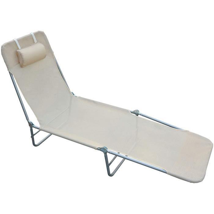 BAIN DE SOLEIL HOMCOM Chaise Longue Pliante Bain de Soleil inclinable transat textil&egravene lit Jardin Plage 182L x 56l x 24,32