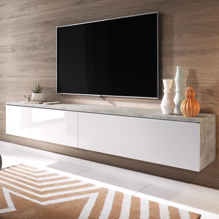 Meuble TV / Meuble de salon - KANE - 180 cm - béton / blanc brillant - sans LED - style moderne