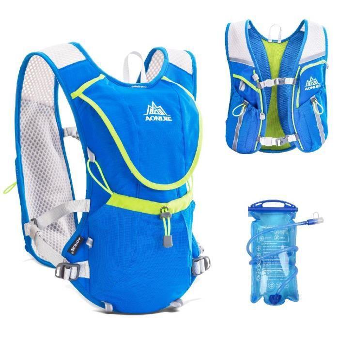 Hydration Pack Sac à Dos Professionnel 8L à l'extérieur Mochilas Trail Marathoner Course à Pied Vélo d'hydratation Gilet, Bleu