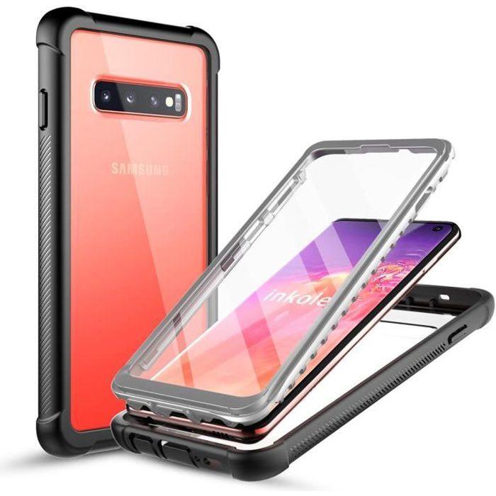 inkolelo Coque Samsung S10, Antichoc Housse avec Protège-écran Full Body Protection Etui [Compatible Capteur d'empreinte Digitale]