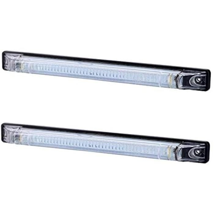 2x Avant 250mm Blanc Contour LED Marqueur Feux Côté Lampe Clignotant Panneau 12V 24V Norme E Camion Remorque Châssis Caravane