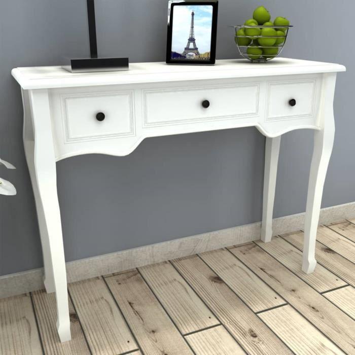 CHEZZOE Table de console et coiffeuse avec 3 tiroirs - Table d'appoint Table d'entrée - Blanc ☺37021