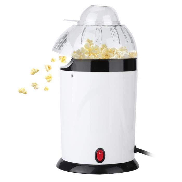 Qiilu Mini Popcorn Maker Ménage Mini ventilateur électrique automatique Popcorn Popper Popcorn Maker EU Plug 220-240V blanc