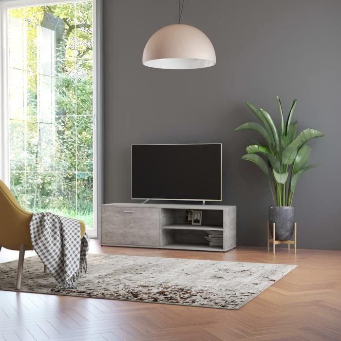 Meuble TV Gris béton 120x34x37 cm Aggloméré