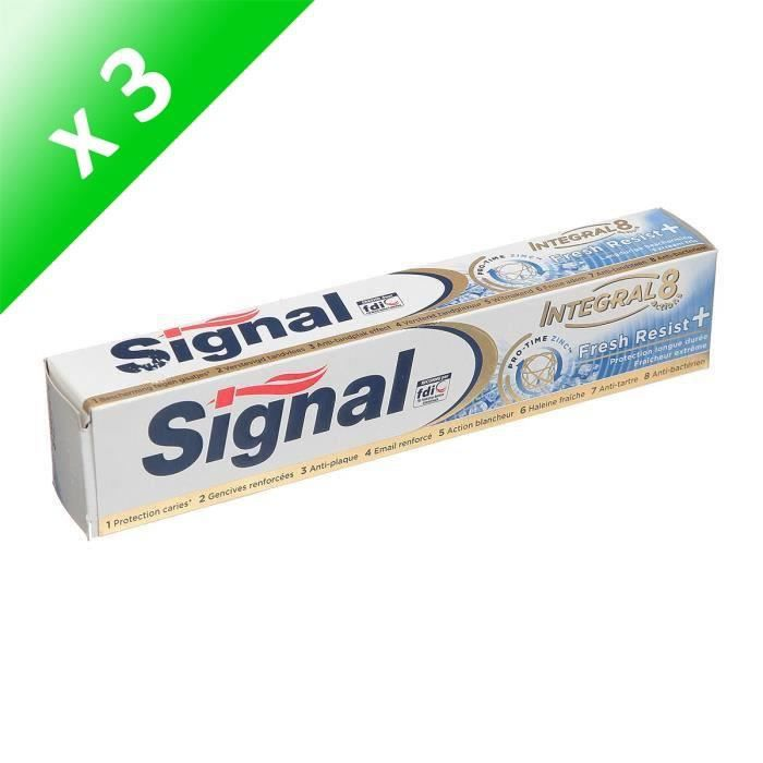 SIGNAL Lot de 3 dentifrices Intégral 8 Resist+ - 75 ml