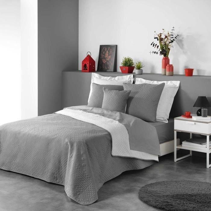 Couvre-lit 2 personnes matelassé 220x240 bicolore Cottage anthracite blanc Gris