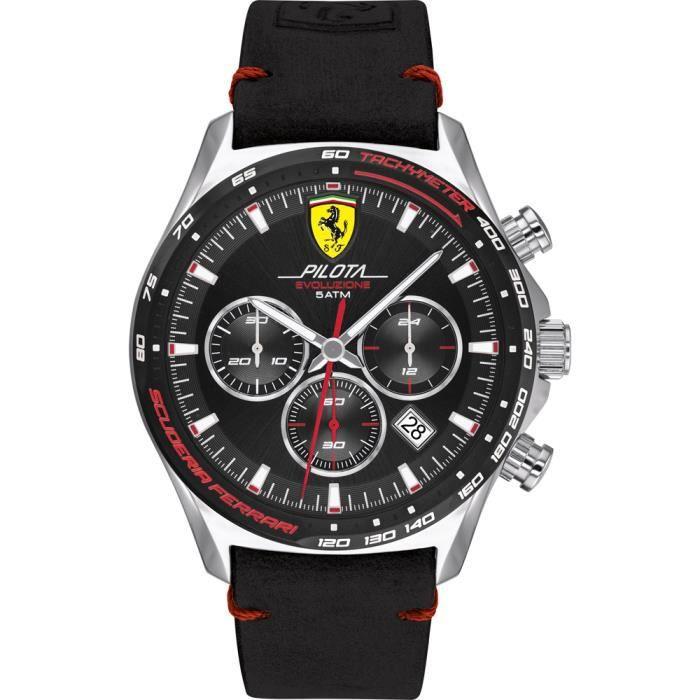 Ferrari-Montre Chronographe pour Homme à movement Quartz en Cuir - 0830710