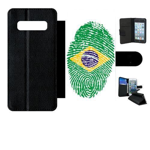 Etui a rabat - Noir Samsung Galaxy S10+ 60 EMPREINTE DIGITALE DRAPEAU BRESIL BRAZIL