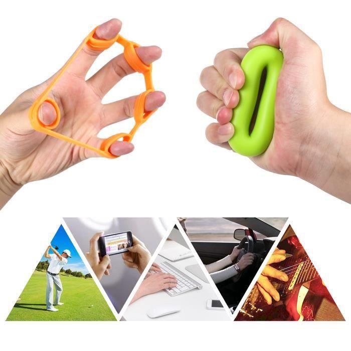 musculation doigts - Durcisseur sous la main Grip Entraînement Set – 6 Pack( 3 anneaux de serrage pour les mains et de 3 d'étirement