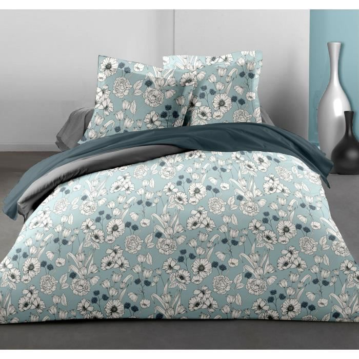 LOVELY HOME Parure de couette Blossom - 1 housse de couette 220x240 cm + 2 taies 65x65 cm volant plat piqué - 54 Fils - Bleu