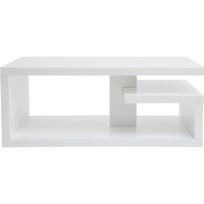 Miliboo - Table basse design laquée blanc L100 cm HALTON
