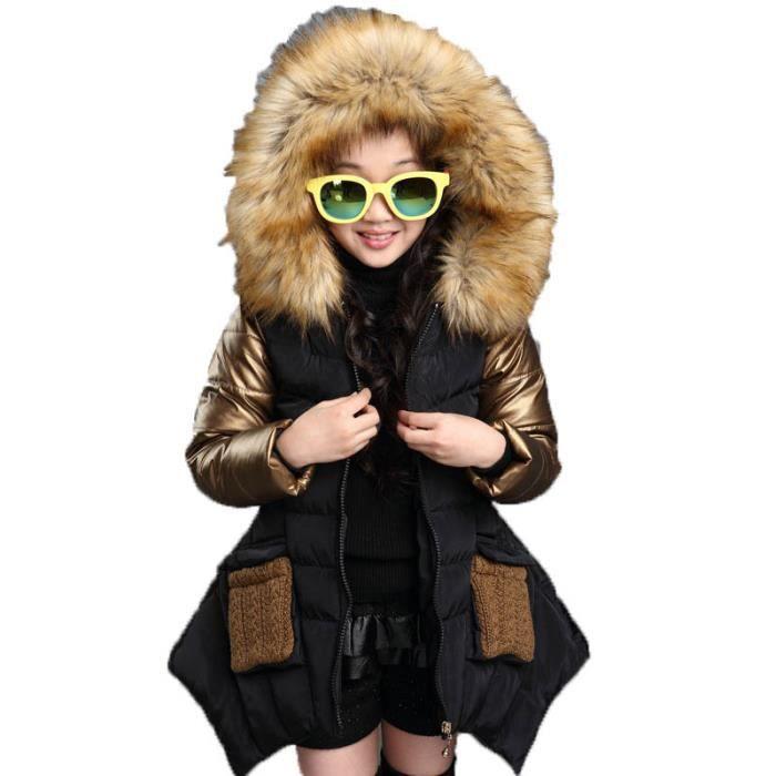 Doudoune Fille à capuche Véritable col de chandail Doudoune Fille Couture de contraste de mode Épaississement de l'hiver chaud