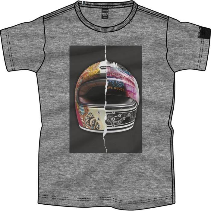 vêtements homme t-shirts replay m3604. t-shirt à col rond homme en pur coton, coupe normale, avec imprimé casque sur la poitrine, dé