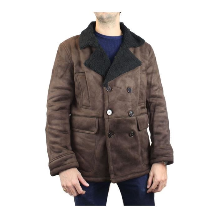 Caban court sherpa Homme Marron