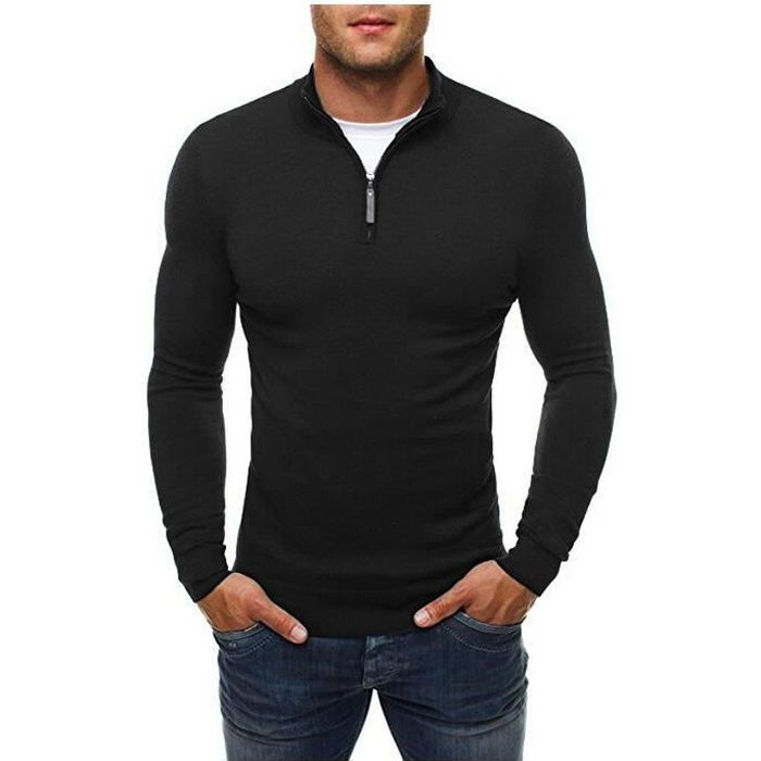 Pull Homme à Col en V Pull-Over Hommes Pull Tricoté en Maille Pull à Coton Sweater