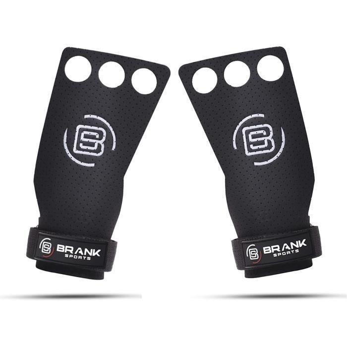 BRANK SPORTS Maniques Crossfit en Cuir Panther 3 Trous pour Protection des Mains - Crossfit / Gymnastique / musculation