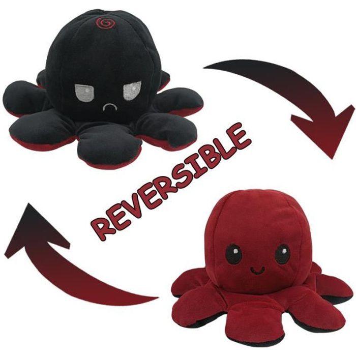 Jouet En Peluche Poupée Pieuvre Mignonne À Rabat Double Face - Peluche Poulpe Réversible Flip Octopus - Noir Et Rouge Foncé