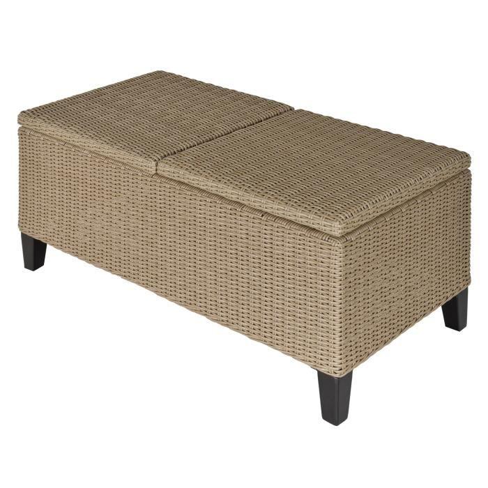 Table basse de jardin style cosy chic - table basse relevable - métal époxy résine tressée imitation rotin beige 103x50x45cm Beige