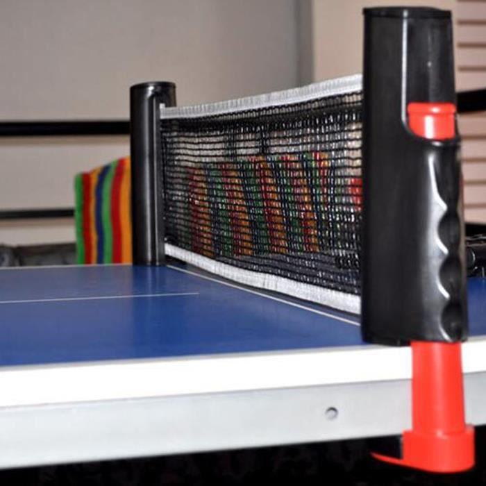 Filet de Ping Pong, Filet de Tennis de Table Rétractable pour Intérieur et Extérieur rouge noir