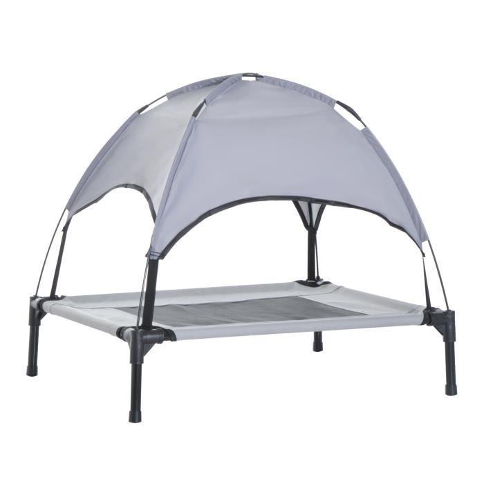 Lit pour chien chat sur pieds grand confort tissu oxford micro-perforé + parasol + sac de transport inclus gris noir 57 61x46x61cm