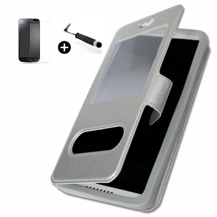 ZTE AXON 7 super PACK Etui fenêtres argent PU + mini stylet + verre trempé Dureté 9H, Ultra-mince 0.20 mm