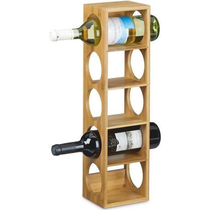 Relaxdays Étagère à vin en Bambou HxlxP: 53 x 14 x 12 cm 5 emplacements Range-Bouteilles 5 étages casier à vin en Bois Porte-Bout