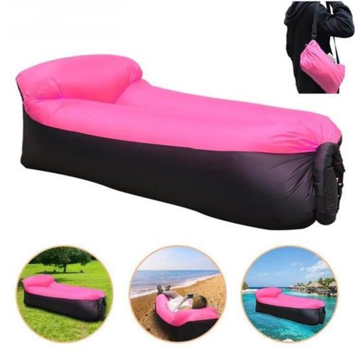 Gonflable Sofa , Excerando Canapé Gonflable Sac à Couchage Matelas Portable Lit en Plein Air pour Camping Plage Extérieur (rose)