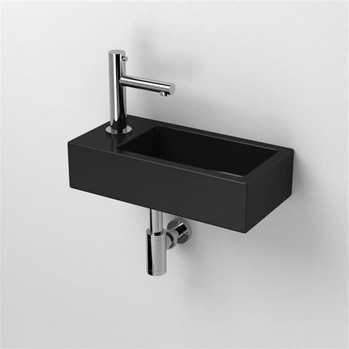Lave main Rectangulaire Gauche - Céramique Noire - 45x25 cm - Studio