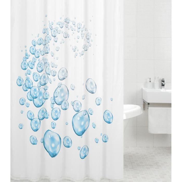 Rideau de douche Bulles d'eau 180 x 180 cm - de haute qualité - 12 anneaux inclus - imperméable - effet anti-moisissures