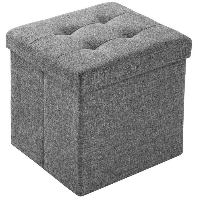 TECTAKE Tabouret Siège Pouf Coffre de Rangement Cube Pliant Rembourré 38 cm x 38 cm x 38 cm Gris Chiné