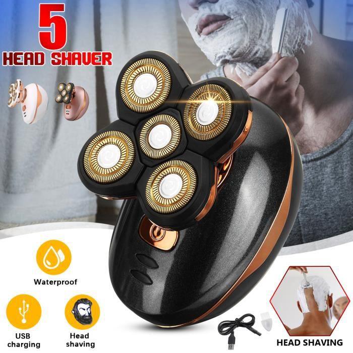 TEMPSA Rasoir Electrique 3D Têtes Rotatives Cheveux Tondeuse Rechargeable 5W NOIR