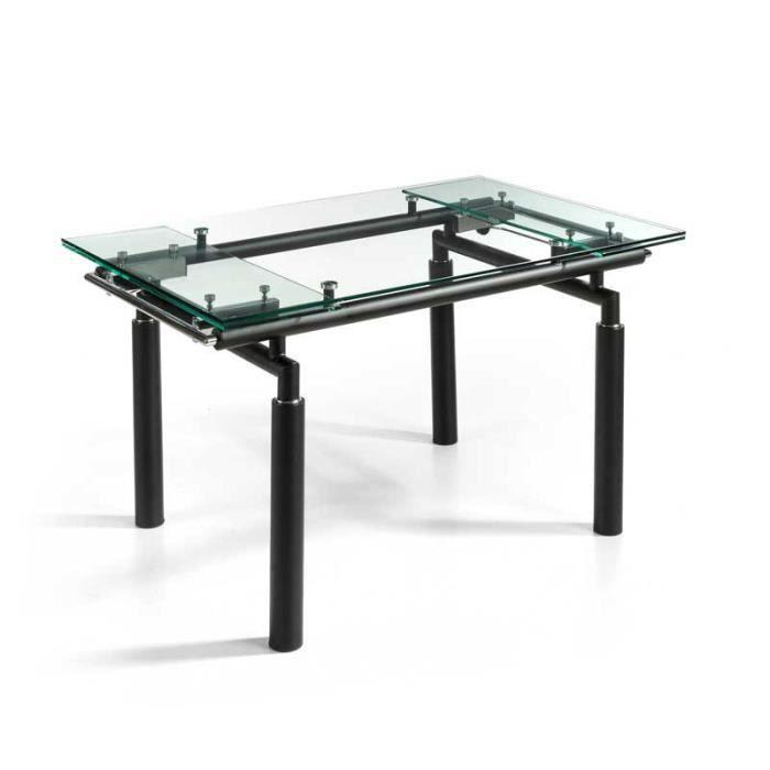 Table de repas extensible Verre/Noir mat - POKENO - L 140/200 x l 90 x H 76