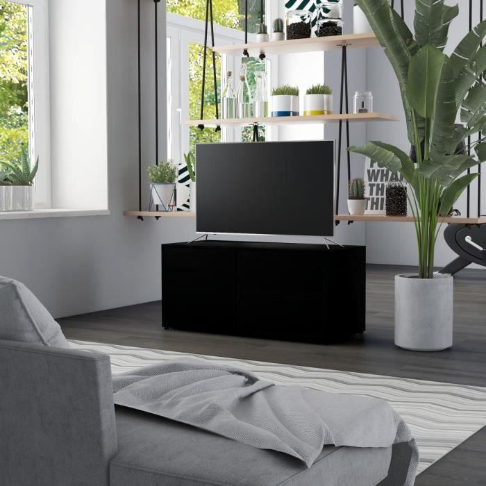 PRIMEL Meuble TV 80 x 34 x 36 cm en Aggloméré Noir
