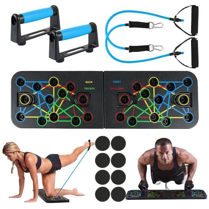 Push Up Board, 23 en 1 Pliable Planche de Musculation Planche à Pompes avec 2pcs Bandes Résistance et Poignées