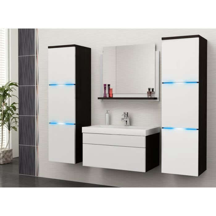 salle de bain compl te luna weng et blanc mat led vasque en c ramique miroir meuble. Black Bedroom Furniture Sets. Home Design Ideas