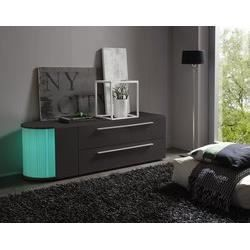 Meuble tv hifi blanc ou gris fonc laqu avec bar int gr design tito 3 gris fonc laqu led for Meuble tv hifi integre