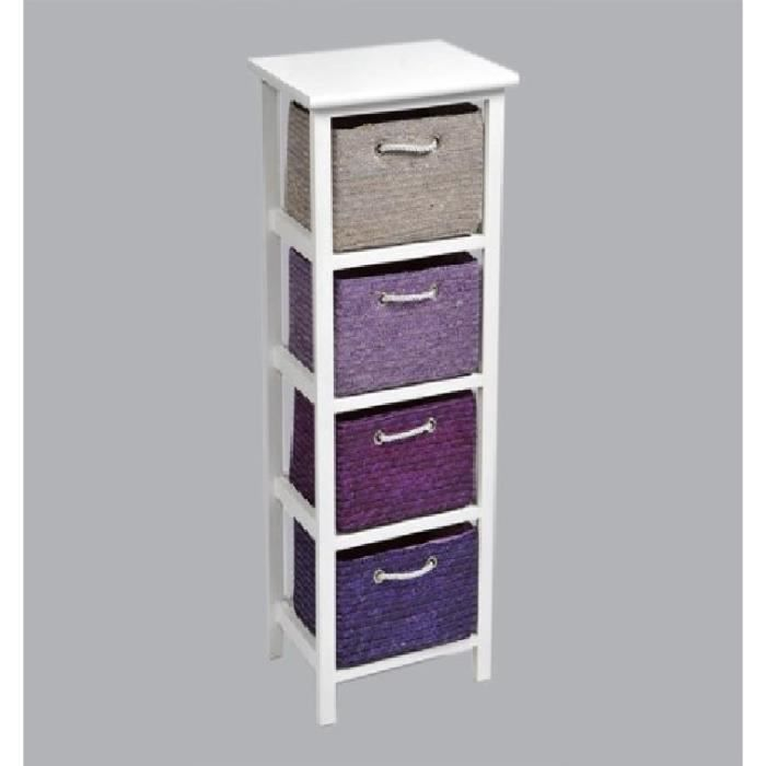 meuble panier en paille troit violet achat vente. Black Bedroom Furniture Sets. Home Design Ideas