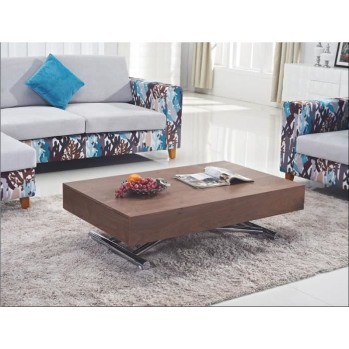 Table basse relevable extensible design en bois achat for Table basse relevable design