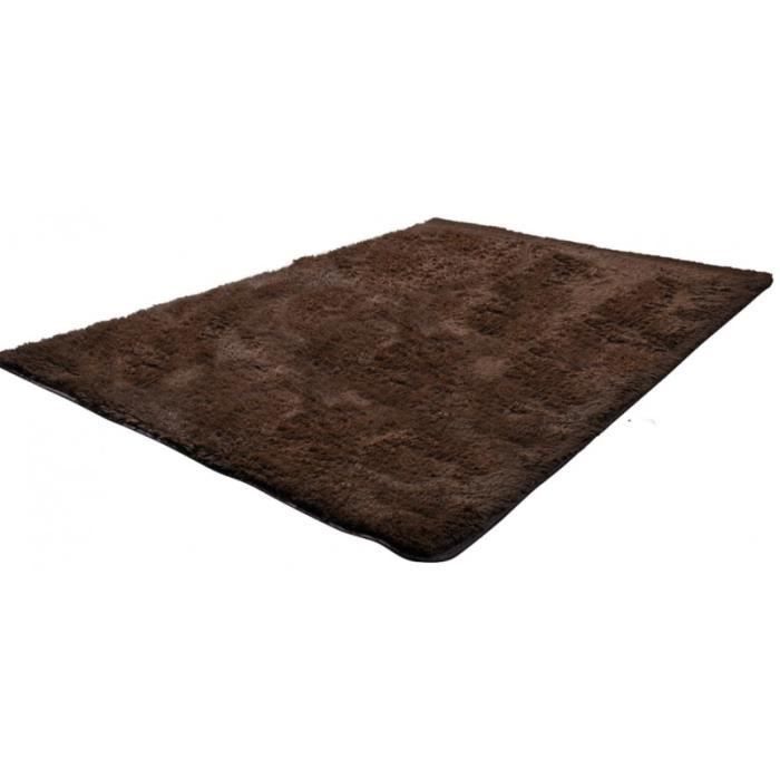 tapis salon marron poil long taille s 2802002 achat vente tapis cdiscount. Black Bedroom Furniture Sets. Home Design Ideas