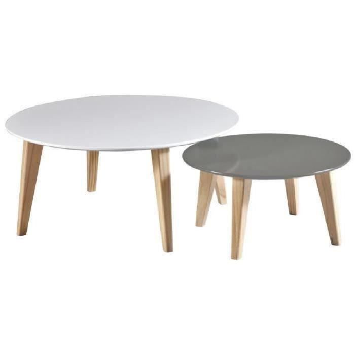 Lot de 2 tables basses scandinave rondes achat vente for Table basse scandinave laquee
