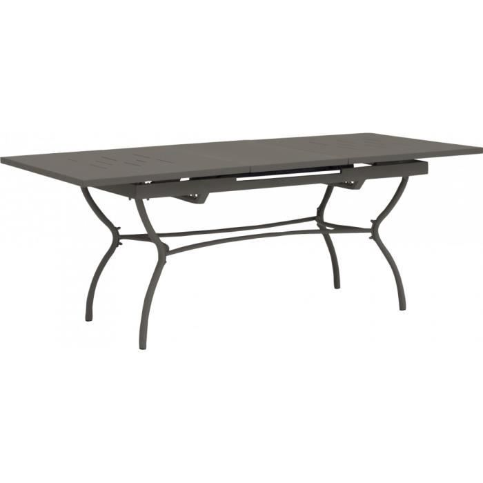 Table fer forg grise ouverture synchronis e 1 allonge for Table en fer exterieur