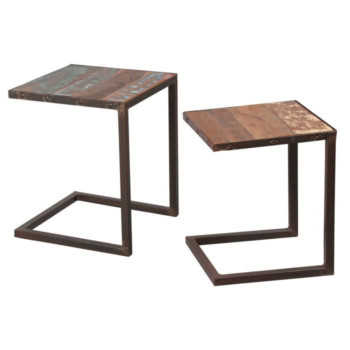 lot de 2 tables gigognes en acier et bois atelier metal achat vente table gigogne lot de 2. Black Bedroom Furniture Sets. Home Design Ideas