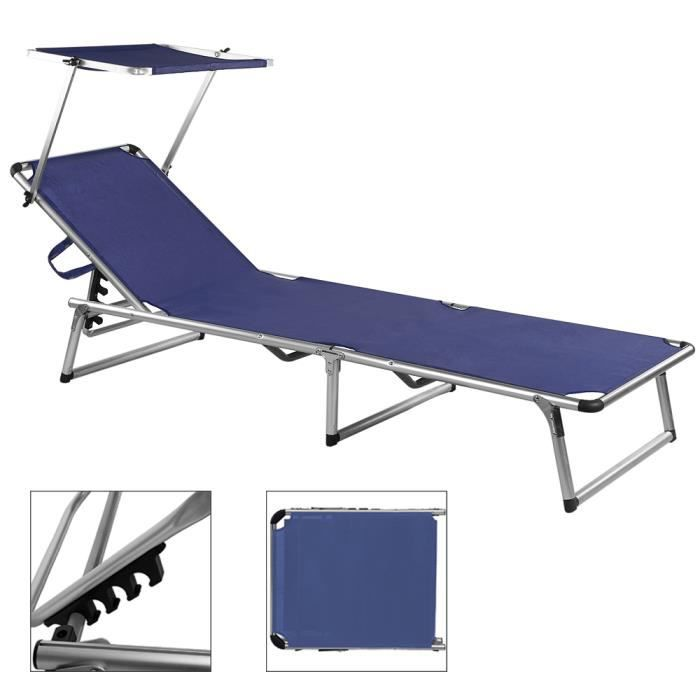 chaise longue de jardin bleu marine aluminium achat. Black Bedroom Furniture Sets. Home Design Ideas